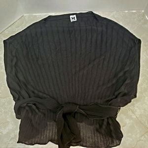 M Missoni Boxy Belted Top Sweater Black